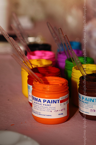 Painting activities at the kiddie corner.
