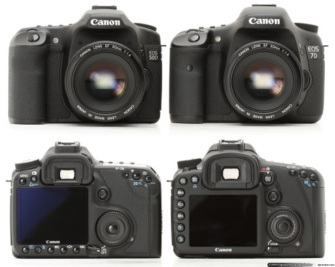 EOS 50D and EOS 7D comparison. Image from http://www.dpreview.com/previews/canoneos7d/