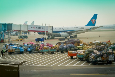 Nanjing International Airport. Goods piling up for delivery.